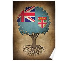 Tree of Life with Fiji Flag Poster