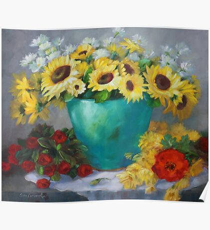 Sunflowers with Red Roses and Poppy Poster