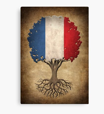 Tree of Life with French Flag Canvas Print