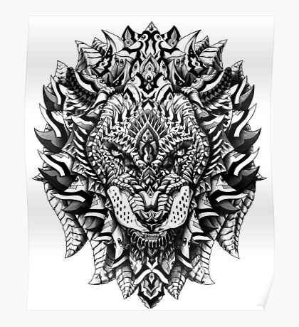 Ornate Lion Poster