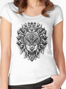 Ornate Lion Women's Fitted Scoop T-Shirt