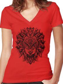 Ornate Lion Women's Fitted V-Neck T-Shirt