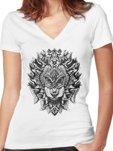 Ornate Lion Women's Fitted V-Neck T-Shirt