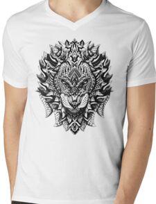 Ornate Lion Mens V-Neck T-Shirt