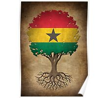 Tree of Life with Ghana Flag Poster