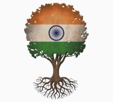 Tree of Life with Indian Flag Kids Tee