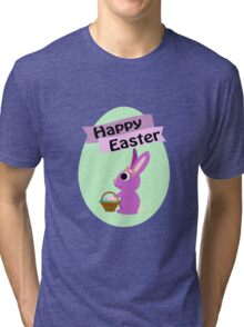 Happy Easter Girl Bunny Tri-blend T-Shirt