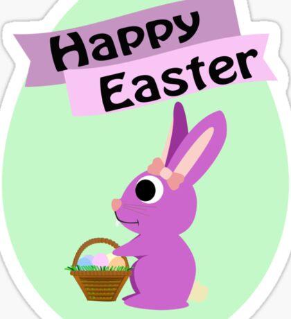 Happy Easter Girl Bunny Sticker