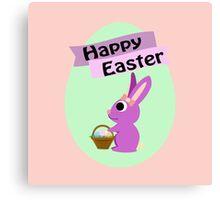 Happy Easter Girl Bunny Canvas Print