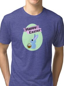 Happy Easter Blue Bunny Tri-blend T-Shirt