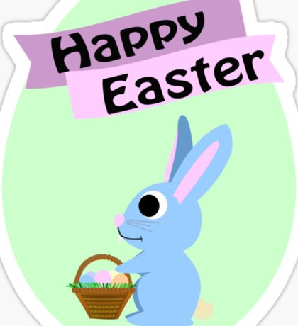 Happy Easter Blue Bunny Sticker