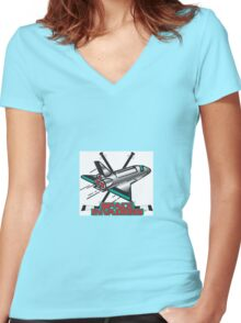 Space Invaders Hockey Club Women's Fitted V-Neck T-Shirt