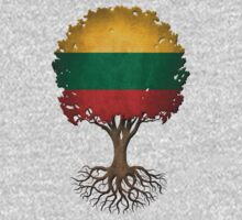 Tree of Life with Lithuanian Flag One Piece - Long Sleeve
