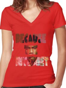 Childish Gambino Because The Internet Album Women's Fitted V-Neck T-Shirt