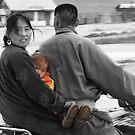 Mongolian Family on Motorbike by Christopher Meder