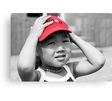 Mongolian Girl with Red Cap Canvas Print