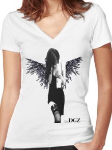 Angel Lady Women's Fitted V-Neck T-Shirt
