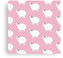 Pink Lamb Pattern - Baby Sheep - Girls Decor Canvas Print