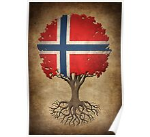 Tree of Life with Norwegian Flag Poster