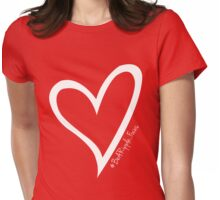 #BeARipple...FOCUS White Heart on Red Womens Fitted T-Shirt