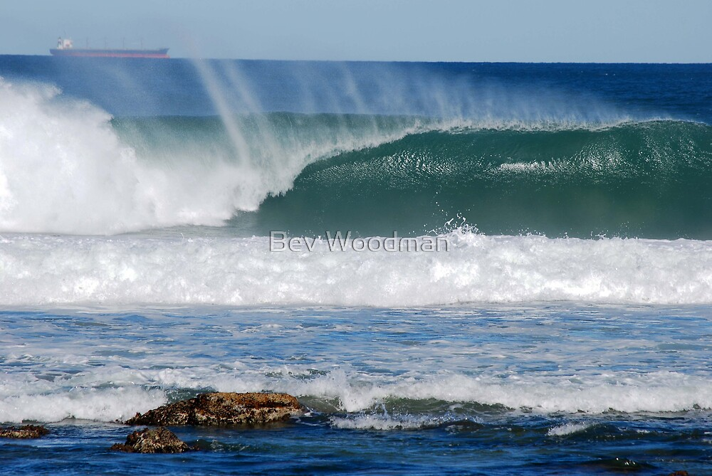 Coal Ships Off Bar Beach NSW by Bev Woodman