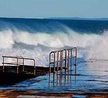 Waves Breaking Over Newcastle Baths by Bev Woodman