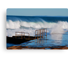 Waves Breaking Over Newcastle Baths Canvas Print