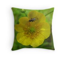 buttercup with insect Throw Pillow