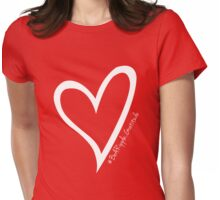 #BeARipple...GRATITUDE White Heart on RED Womens Fitted T-Shirt