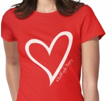 #BeARipple...HAPPY White Heart on RED Womens Fitted T-Shirt
