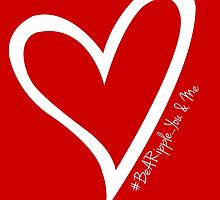 #BeARipple...YOU & ME White Heart on Red by BeARipple