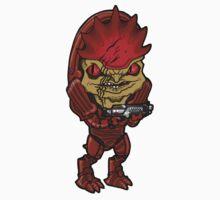 Mass Effect - Urdnot Wrex Krogan with Shotgun Chibi Sticker by Zphal