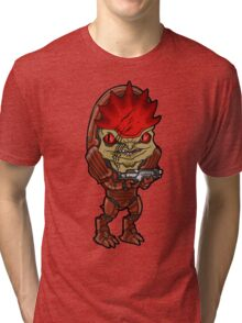 Mass Effect - Urdnot Wrex Krogan with Shotgun Chibi Sticker Tri-blend T-Shirt