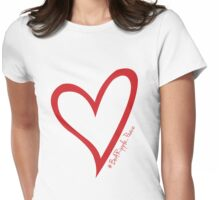 #BeARipple...PEACE Red Heart on White Womens Fitted T-Shirt