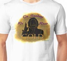 On Sundays We Wear GOLD (Purple Letters) Unisex T-Shirt