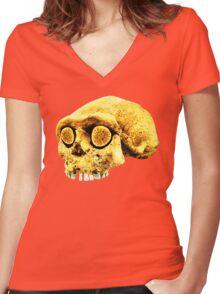 PREHISTORIC SKULL Women's Fitted V-Neck T-Shirt