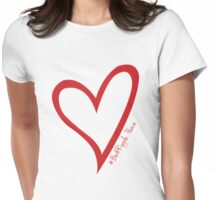#BeARipple...PEACE Red Heart on Pink Womens Fitted T-Shirt