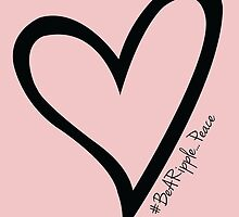 #BeARipple...PEACE Black Heart on Pink by BeARipple