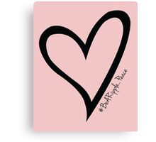 #BeARipple...PEACE Black Heart on Pink Canvas Print