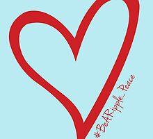 #BeARipple...PEACE Red Heart on Blue by BeARipple