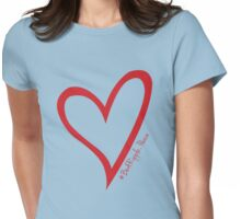 #BeARipple...PEACE Red Heart on Blue Womens Fitted T-Shirt