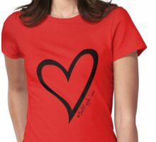 #BeARipple...LOVE Black Heart on Red Womens Fitted T-Shirt