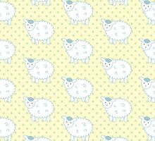Blue and Yellow Lamb Pattern - Cute Nursery Decor by PatternPrint