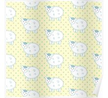 Blue and Yellow Lamb Pattern - Cute Nursery Decor Poster