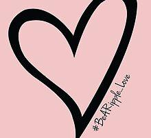 #BeARipple...LOVE Black Heart on Pink by BeARipple