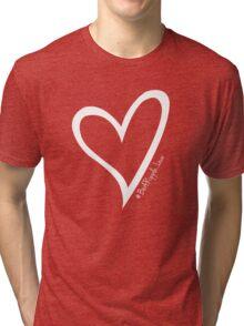 #BeARipple...LOVE White Heart on Pink Tri-blend T-Shirt