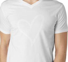 #BeARipple...LOVE White Heart on Pink Mens V-Neck T-Shirt