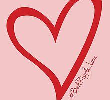 #BeARipple...LOVE Red Heart on Pink by BeARipple