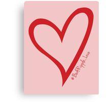 #BeARipple...LOVE Red Heart on Pink Canvas Print