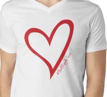 #BeARipple...LOVE Red Heart on Pink Mens V-Neck T-Shirt